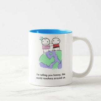 A cute earth-loving doodle Two-Tone coffee mug