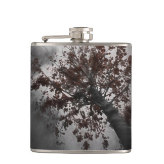 A Dark Fall Tree with Burgundy Leaves & a Dark Sky Hip Flask