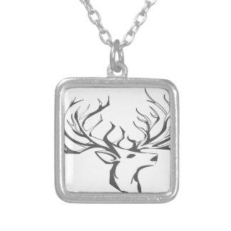 A deer head square pendant necklace