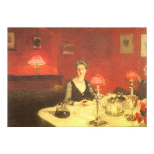 A Dinner Table at Night by Sargent, Victorian Art Custom Invitations
