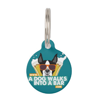 A Dog Walks into a Bar-Color Dog Tag Customizable