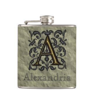 A - Embossed Vintage Monogram (Golden) Hip Flask