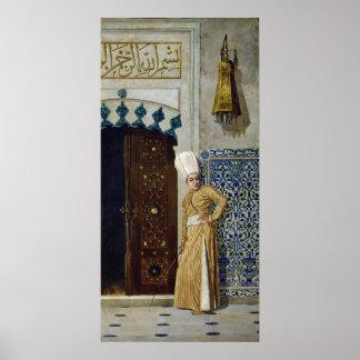 A eunuch before the door of the harem poster