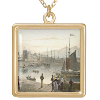 A ferry arriving at Leith, from 'A Voyage Around G Gold Plated Necklace