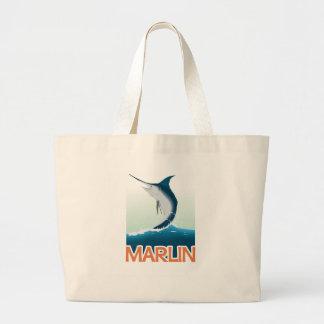 A fishing gift from sea: Shiny marlin Large Tote Bag