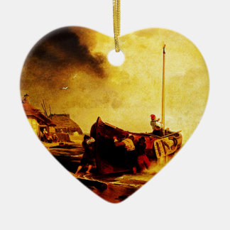 a fishingboat on the beach Andreas Achenbach Christmas Ornament