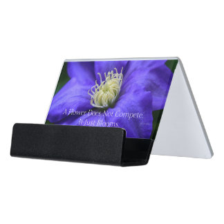 A Flower Does Not Compete Quote Desk Business Card Holder