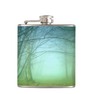 A Forest With Fog Hip Flasks