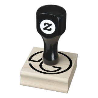 A & G Monogram Wood Rubber Stamp