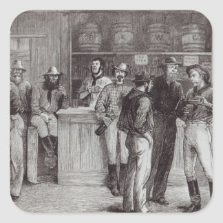 A general shout', inside a bush tavern, 1878 square sticker