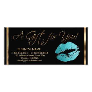A Gift Certificate Pretty Teal Lipstick Business 2 Customised Rack Card
