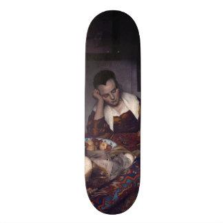 A Girl Asleep by Johannes Vermeer Skate Board Deck