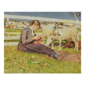 A Girl Knitting, 1888 (oil on canvas) Poster