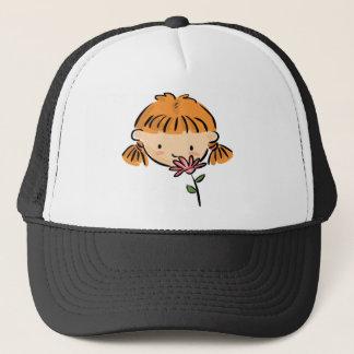 A Girl Smelling a Pink Flower Trucker Hat