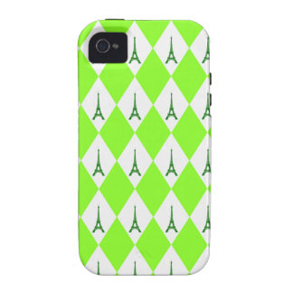 A girly neon green diamond eiffel tower pattern iPhone 4/4S cases
