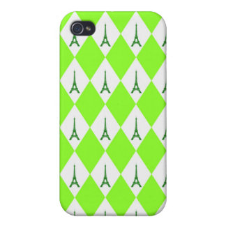 A girly neon green diamond eiffel tower pattern iPhone 4/4S covers