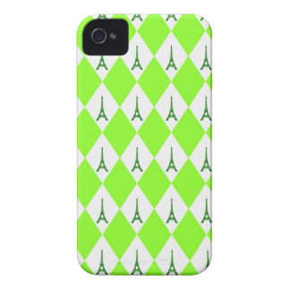 A girly neon green diamond eiffel tower pattern iPhone 4 case