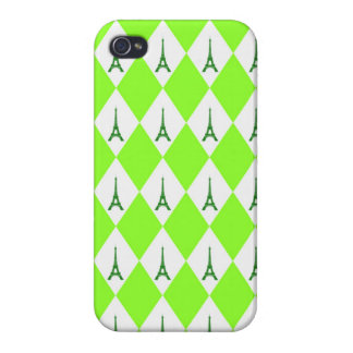 A girly neon green diamond eiffel tower pattern covers for iPhone 4