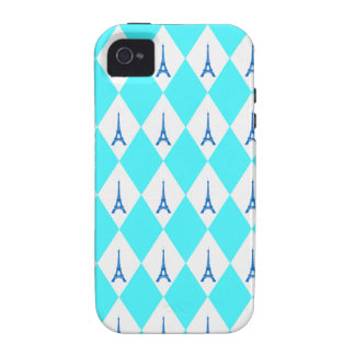 A girly neon teal diamond eiffel tower pattern iPhone 4 cover