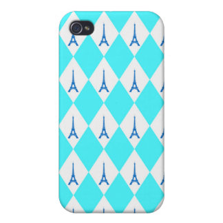 A girly neon teal diamond eiffel tower pattern iPhone 4/4S case