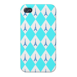 A girly neon teal diamond eiffel tower pattern iPhone 4 case