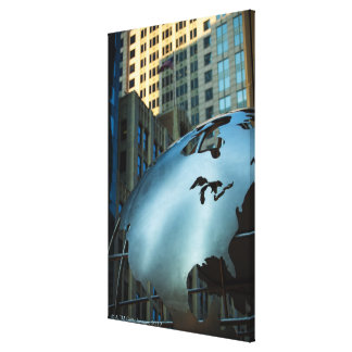 A globe with a stainless steel North America Canvas Print