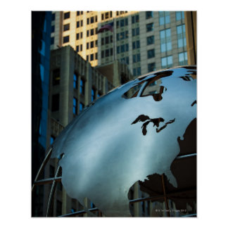 A globe with a stainless steel North America Print