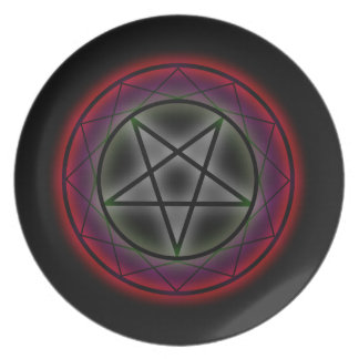 A glowing pentagram dinner plates