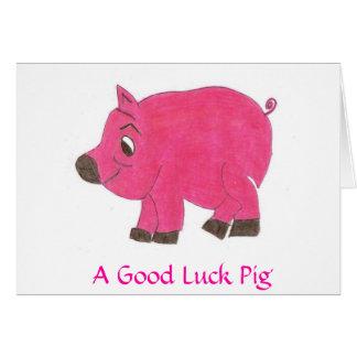 A Good Luck Pig Card
