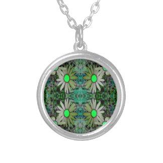 a GreenGlowingDaisyX Z.JPG Round Pendant Necklace