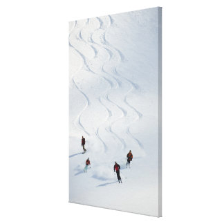 A group of backcountry skiers follow their guide canvas print
