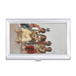 A Group of Ute Children Vintage Indians Business Card Holder
