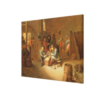 A Guardroom Interior with Soldiers playing Cards ( Canvas Print