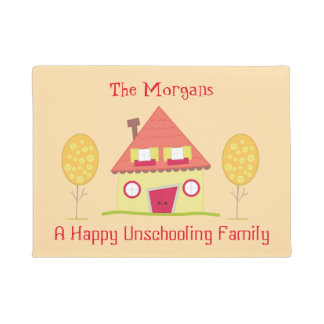 A Happy Unschooling Family Yellow House Welcome Doormat