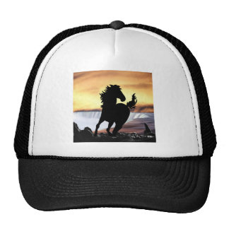 A horse silhouette and waterfall cap