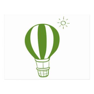 A hot air balloon and a sun postcard