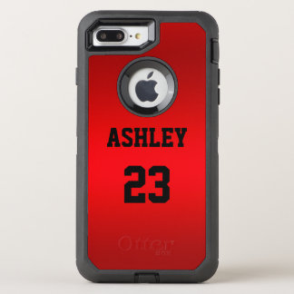 A jersey number and name in black on a red backgro OtterBox defender iPhone 8 plus/7 plus case