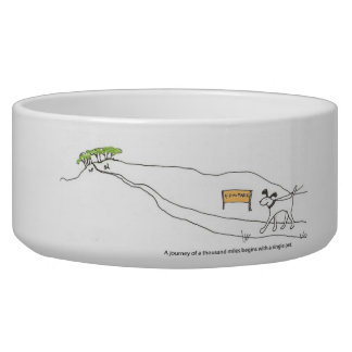 """A journey of a thousand miles..."" dog bowl"