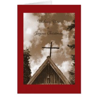 A Joyous Christmas , Old Country Church, Sepia Card