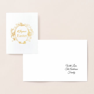 A Joyous Easter Cute Easter Bunnies Typography Foil Card