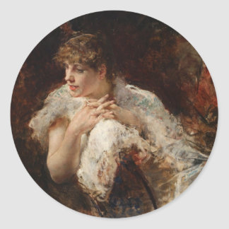 A Lady from Naples - Giuseppe De Nittis Classic Round Sticker