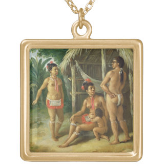 A Leeward Islands Carib Family outside a Hut, c.17 Gold Plated Necklace