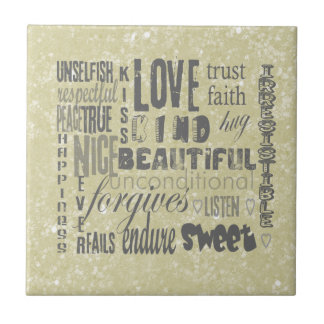 A Little Glitter and a LOT OF LOVE Small Square Tile