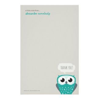A Little Note Thank You Blue Owl Stationery