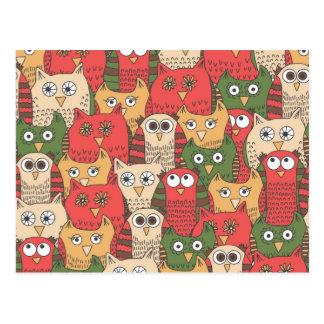 A lot of cute owls postcard