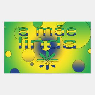 A Mãe Linda Brazil Flag Colors Pop Art Rectangular Sticker