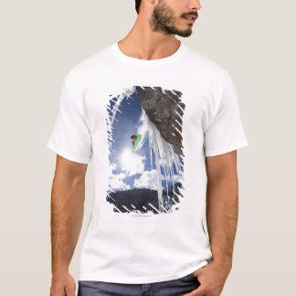 A male snowboarder jumps off an ice waterfall T-Shirt