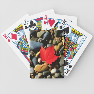 A Maple leaf on a Rock Background Bicycle Playing Cards