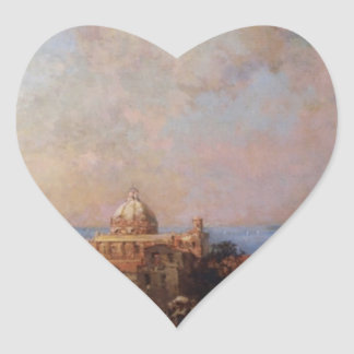 A Market in Naples by Franz Richard Unterberger Heart Sticker