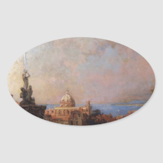 A Market in Naples by Franz Richard Unterberger Oval Sticker
